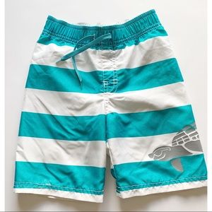 Boys- Teal and white swim trunks